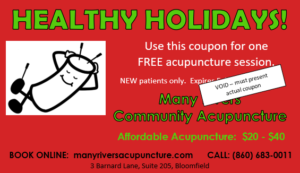 Healthy Holidays coupon at Many Rivers Community Acupuncture