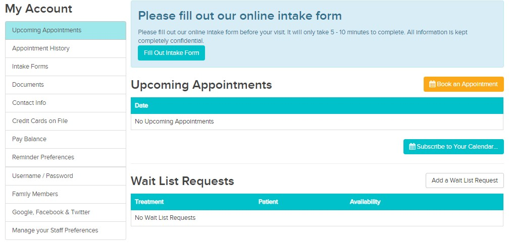 My Account shows your Wait List requests