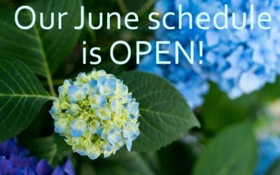 Our June schedule is OPEN!